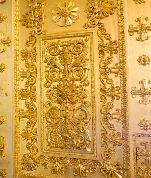 Detail of one of many gilded doors in the Malachite Room, The Winter Palace, St. Petersburg, Russia