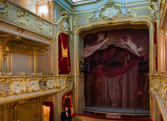 Ernst Friedrich von Liphart, who was the curator of paintings at the Hermitage, painted the original curtain and ceiling of the ornate Rococo Palace Theatre, Yusupov Palace, St. Petersburg, Russia