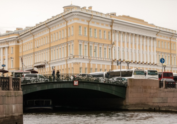 Like Venice and Amsterdam, the canals in the city center have very low clearances for boats, so only small (and low) vessels ply the waters of the canals, St. Petersburg, Russia