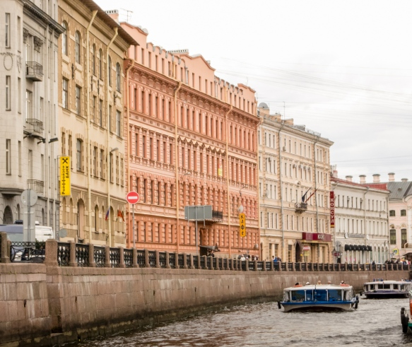 Many of the 19th century buildings along the canals in the center of the city have been restored – the area is a UNESCO World Heritage Site, St. Petersburg, Russia