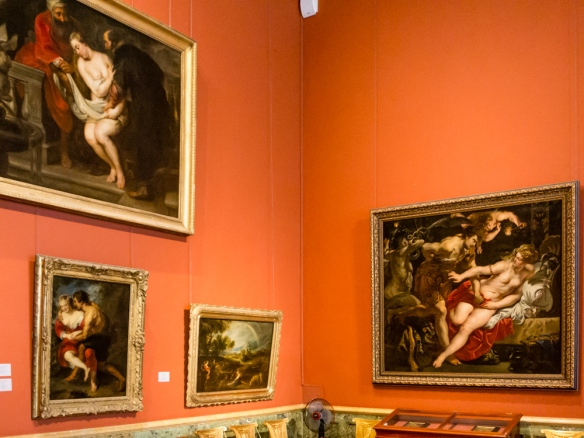 "Many of the larger European paintings rooms are hung ""salon style"" in order to display a larger number of paintings, The Hermitage Museum, St. Petersburg, Russia"