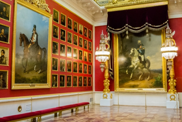 "One of the Romanov and Tsars' portrait ""halls"" in The Winter Palace, St. Petersburg, Russia"