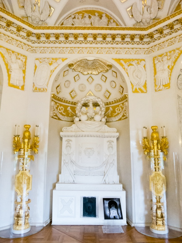 One of Tsar Paul I's personal rooms, heavily gilded in Pavlosk Palace, St. Petersburg, Russia