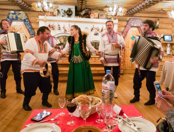 Our table afforded us an excellent view of the folklore musicians and dancers, Podvoyre (Dacha Terem) Restaurant, St. Petersburg, Russia