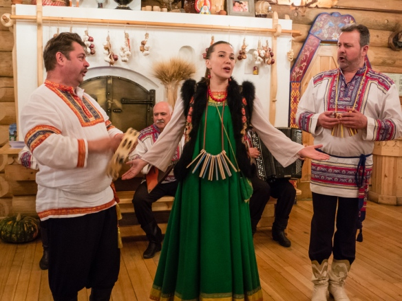 Over the course of the evening we were entertained by musicians and two groups of local dancers – performing folkloric melodies and dancing traditional dances, Podvoyre (Dacha Terem) Restaurant, St. Petersburg, Russia