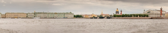 Panorama along the Neva River with the Winter Palace (Hermitage museum) (center left), the Admiralty (center), gold dome of St. Isaac's Cathedral, and the former Stock Exchange (right, with 2 red columns), St. Petersburg, Russia