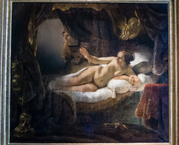 "Rembrandt van Rijn (1606 – 1669 The Netherlands),  ""Danaë"" (185 cm × 203 cm; 73 in × 80 in), acquired in 1772 for the Hermitage with the Crozat Collection, Paris; The Hermitage Museum, St. Petersburg, Russia"