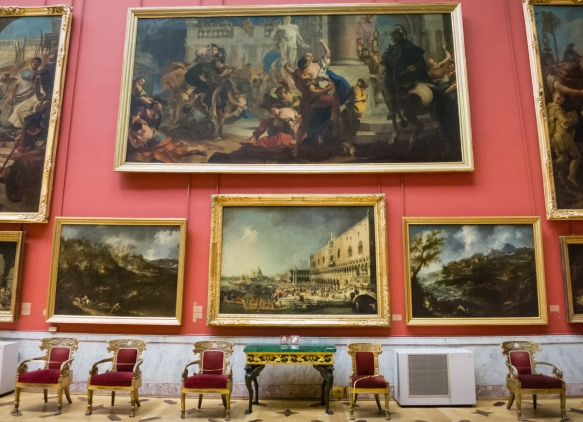Salon style display of paintings in the European Masterpieces permanent exhibition wing of the Hermitage Museum, St. Petersburg, Russia