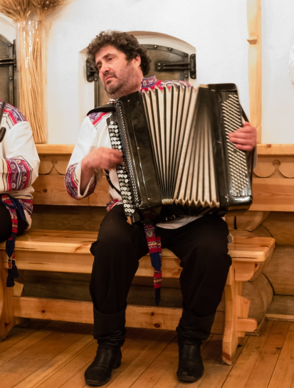 The accordion player was quite a character, Podvoyre (Dacha Terem) Restaurant, St. Petersburg, Russia