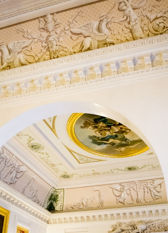 The ceiling paintings and sculptured friezes were exquisite, Pavlosk Palace, St. Petersburg, Russia