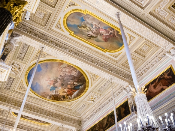 The ceiling paintings are on canvas stretched onto the ceiling openings; the plaster is paper mache to minimize the weight of the buildings on the pilings in what was originally marshes of the Neva River; The Winter Palace, St. Petersburg, Russia