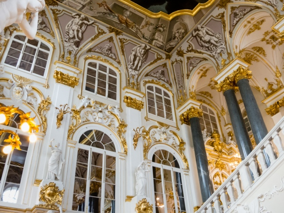 "The ""Jordan Staircase"" entry to the palace retains Rastrelli's 18th century rococo style, The Winter Palace, St. Petersburg, Russia"