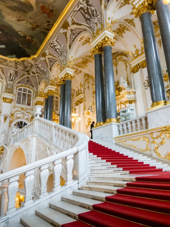 "The ""Jordan Staircase"", so-called because on the Feast of the Epiphany the Tsar descended it in state for the ceremony of the ""Blessing of the Waters""; it retains Rastrelli's 18th century rococo style; The Winter Palace, St. Petersburg, Russia"