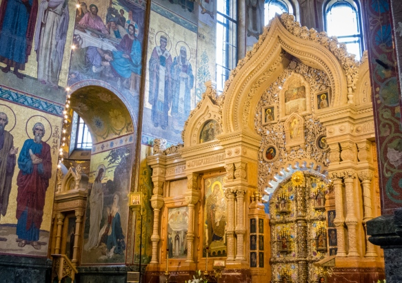 The elaborate decorations of The Church of Our Savior on the Spilled Blood, St. Petersburg, Russia