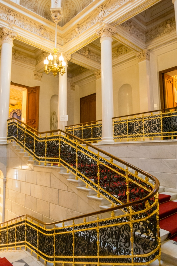 The elaborate stairway entrance to the Fabergé Museum at Shuvalov Palace, St. Petersburg, Russia