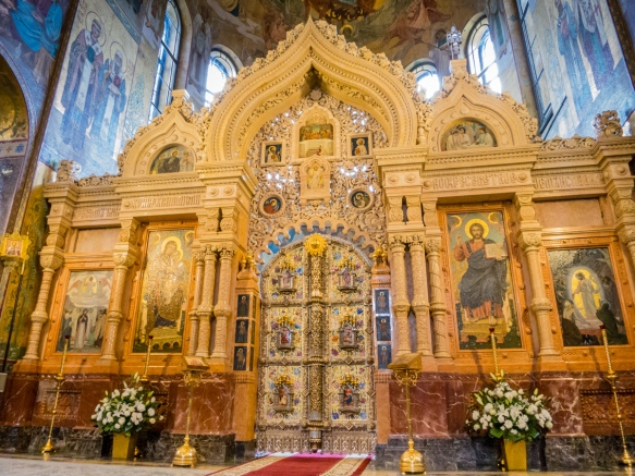 The entrance to the altar, richly decorated with mosaics and elaborate entry doors, The Church of Our Savior on the Spilled Blood, St. Petersburg, Russia