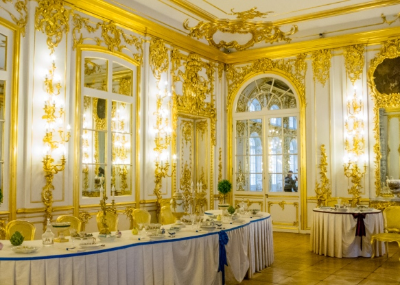 "The formal dining room – ""The White Dining Room"" -- Catherine's Palace, St. Petersburg, Russia"