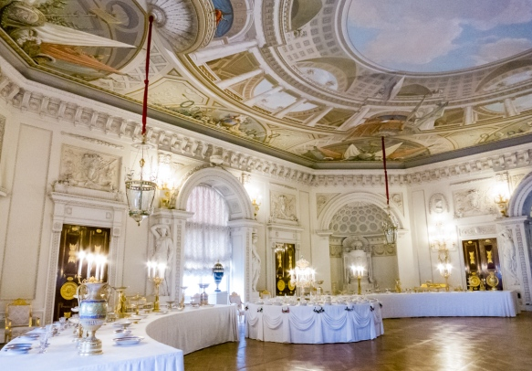 The formal dining room of the palace, Pavlosk Palace, St. Petersburg, Russia