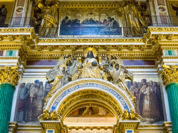 The interior is adorned with incredibly detailed mosaic icons, paintings and columns made of malachite and lapis lazuli, Saint Isaac's Cathedral or Isaakievskiy Sobor, St. Petersburg, Russia