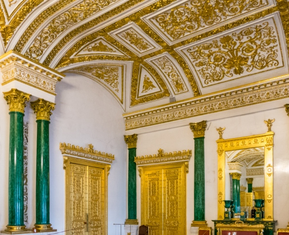 "The Malachite Room of the Winter Palace has columns, pilasters and mantelpieces lined with malachite in the technique known as the ""Russian Mosaics"", The Winter Palace, St. Petersburg, Russia"