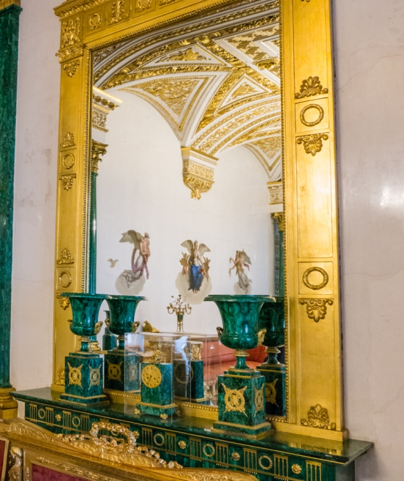 The mirror reflects part of the Malachite Room behind the photographer, The Winter Palace, St. Petersburg, Russia
