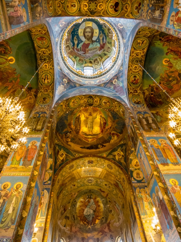"The mosaic of Christ Pantocrator  (""Almighty"" or ""All-powerful"" -- The Pantocrator is largely an Eastern Orthodox or Eastern Catholic theological conception) under the central dome, The Church of Our Savior on the Spilled Blood, St. Petersburg, Russia"