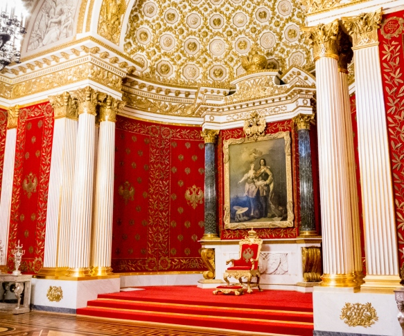 The Small Throne Room was created by Auguste de Montferrand in 1833; it has columns of jasper; diplomats gathered here on New Year's Day to offer good wishes to the Emperor; The Winter Palace, St. Petersburg, Russia