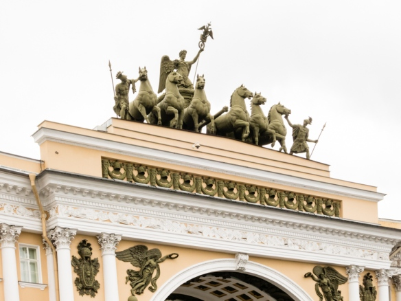 The triumphal arch, a monument to Russia's victory in the war of 1812, atop The General Staff Building, one of the most famous architectural monuments in St. Petersburg, Russia, designed by the architect K. I. Rossi, built 1820 to 1830