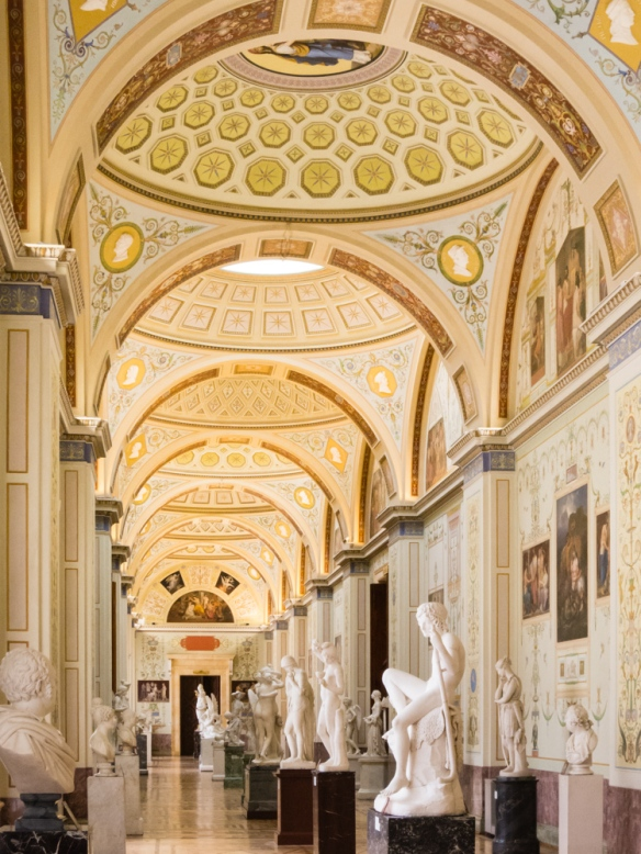 The view down the length of the European Sculpture Gallery, The Hermitage Museum, St. Petersburg, Russia