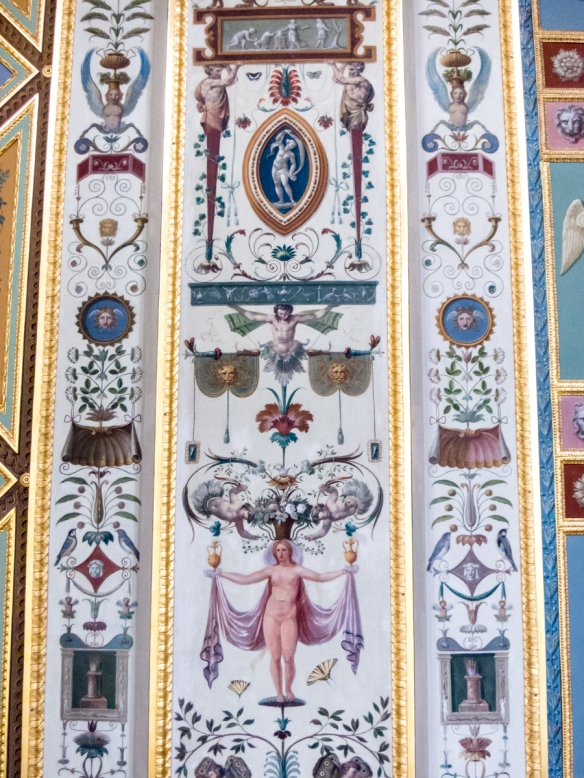 "The walls in the Raphael Loggias are covered with paintings with ornamentation motifs, known as ""grotesques"", Hermitage Museum, St. Petersburg, Russia"