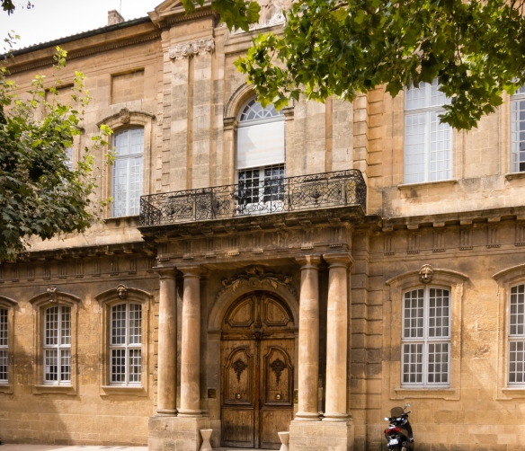 A classical French architecture building in the center of old town, Aix-en-Provence, France