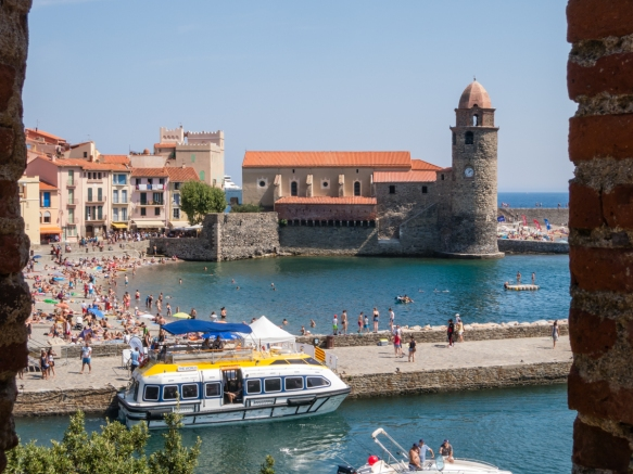 A close up of the Vieux Quartier du Moure (Old Quarter) of Collioure, France, from a window opening of the Chateau Royal de Collioure (Collioure Royal Castle)