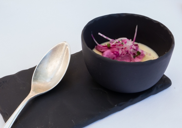 A delightful appetizer of cold corn soup with beet root and radish garnishes, Le Mas Candille, Mougins, France