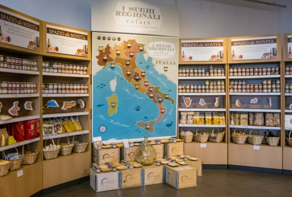 A display of regional Italian products, Ealaly, Roma, Italy