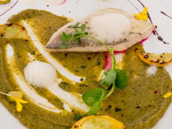 "A fish course of ""Poached haddock fillet with star anise"", Sichuan pepper and zucchini's declination, L'Esprit de la Violette, Aix-en-Provence, France"