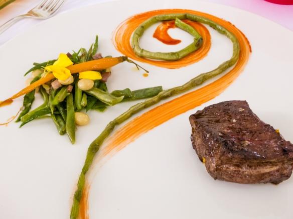 "A main course of ""Sauteed Beef Fillet"", green vegetables ""a la francaise"", L'Esprit de la Violette, Aix-en-Provence, France"