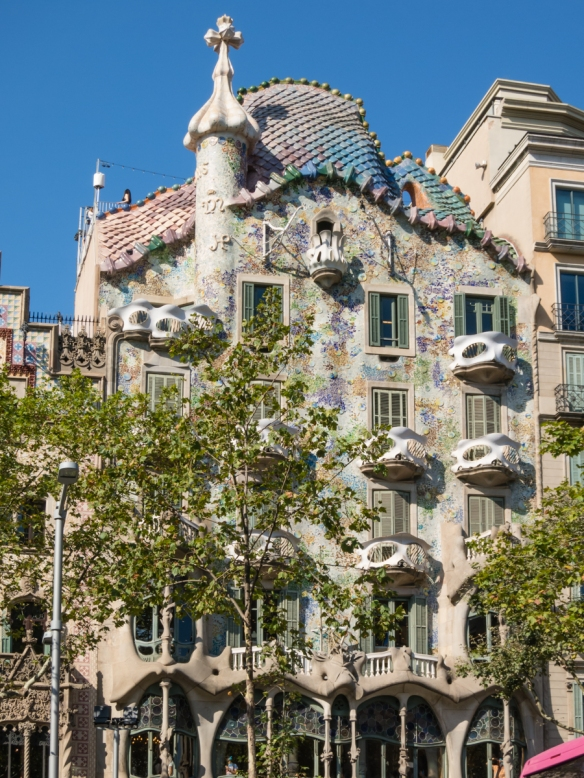 A remodel of a previously built house, Casa Batlló was redesigned by the famed Spanish architect Antoni Gaudí and is one of his masterpieces, Barcelona, Spain