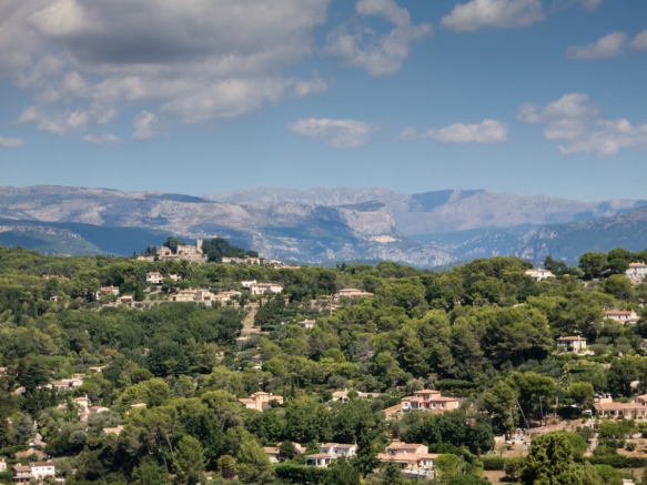 A view of the hillside around the town of Mougins, France