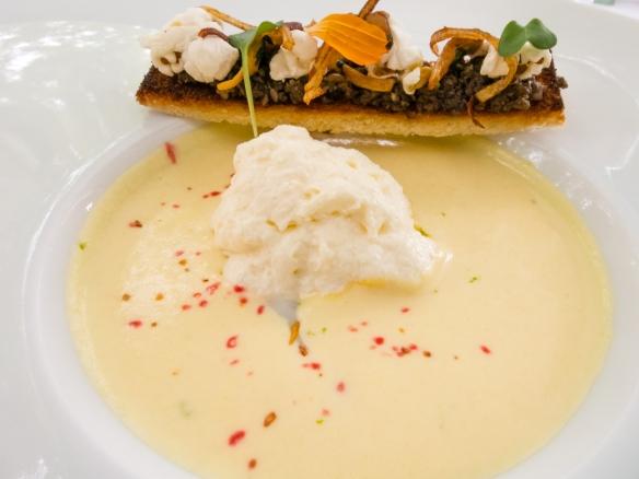 """An appetizer of """"Corn and parmesan frozen velvet"""" with """"egg parfait"""" and finger of bread with mushrooms, L'Esprit de la Violette, Aix-en-Provence, France"""