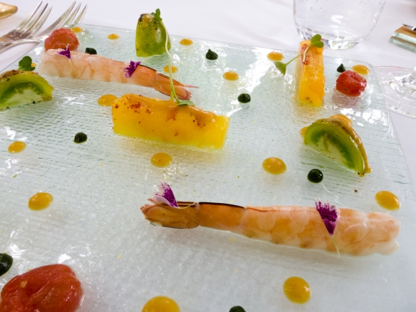 "An appetizer of ""Tomatoes Greediness"" with king prawn with coconut flavor, salt and pepper vinaigrette, L'Esprit de la Violette, Aix-en-Provence, France"