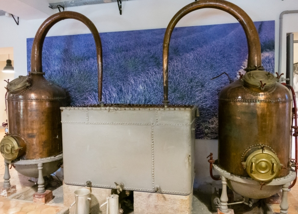 "An historic steam distiller in the ""museum"" at Fragonard Parfumeur, Grasse, France"