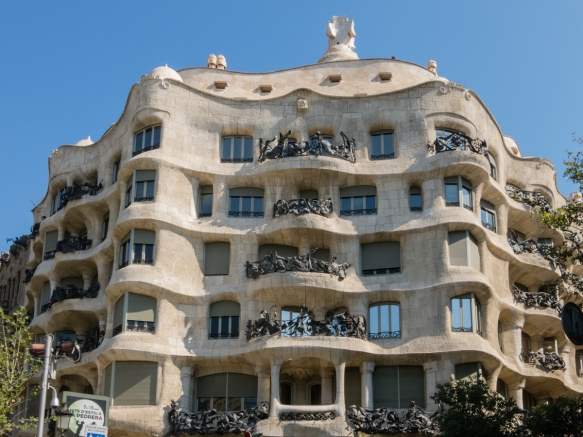 Casa Milà, also know as La Pedrera (1906-1912), is regarded as the zenith of Antoni Gaudí's work in Barcelona's Eixample district, Spain