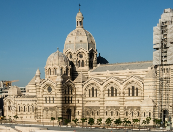Cathedrale de la Major (Marseill Cathedral) has a striking Byzantine façade that was built from local Cassis stone and green Florentine marble; it is on the site of previous religious institutions dating from the fifth century; Marseille, France
