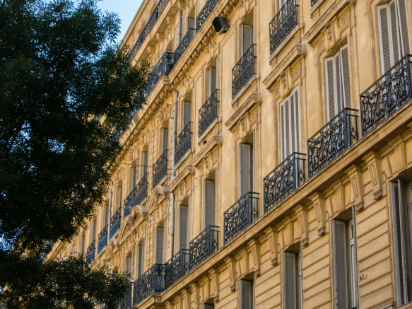 Classical French architecture in downtown Marseille, France