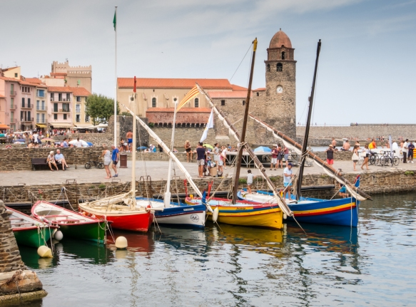 Colorful small boats in the harbor (port) of Collioure, France