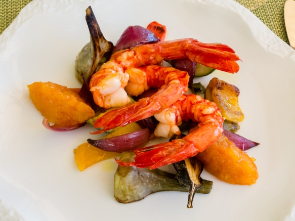 Fresh shrimp with grilled local vegetables at the Veranda at Grand-Hôtel du Cap-Ferrat, Cap-Ferrat, France