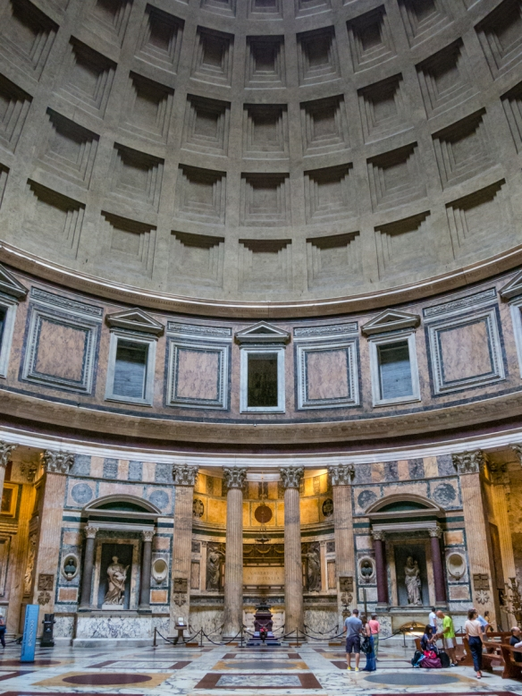 Interior of the Pantheon, build at the height of the Roman Empire (with an opening at the top of the dome roof!) and later converted into a church, Roma, Italy