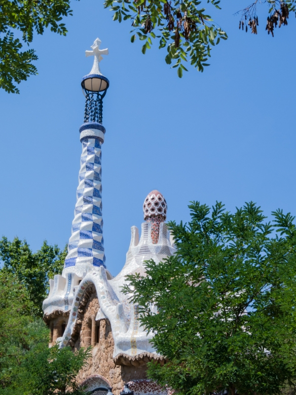 One of several imaginative buildings (and towers) designed by Gaudí for Parc Guell, Barcelona, Spain