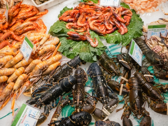 Our favorite seafood (lobsters and prawns) at the boisterous Mercat de la Boqueria (La Boqueria market), selected as the world's best at the biennieal World Congress of Public Markets, Barcelona, Spain