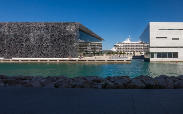 Our ship docked behind MuCEM – Musee des Civilisations de l'Europe et de la Mediterranee (modern art museum) on the left and Villa Mediterranee (on the right); the harbor redevelopment opened in 2013, Marseille, France